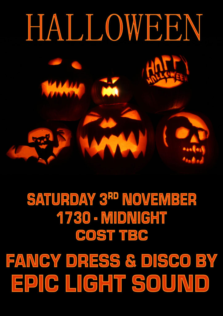 Halloween Party Saturday 3rd November with Disco by Epic Light Sound